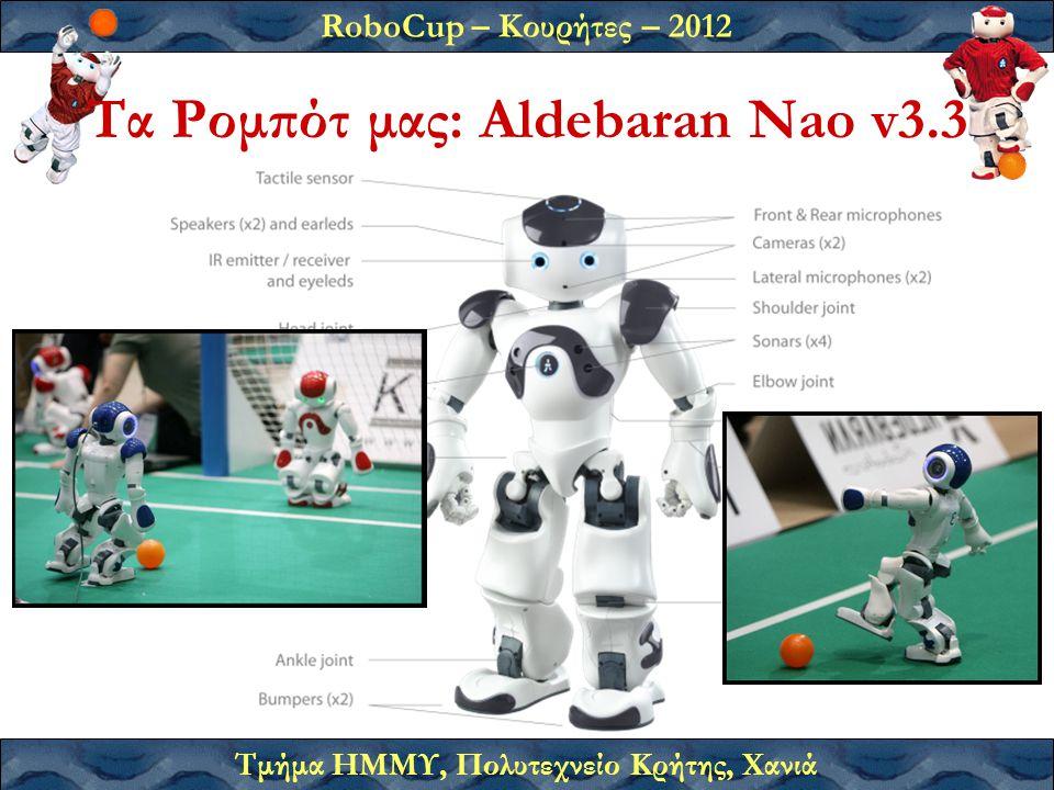RoboCup – Κουρήτες – 2012 Τμήμα ΗΜΜΥ, Πολυτεχνείο Κρήτης, Χανιά Τα Ρομπότ μας: Aldebaran Nao v3.3