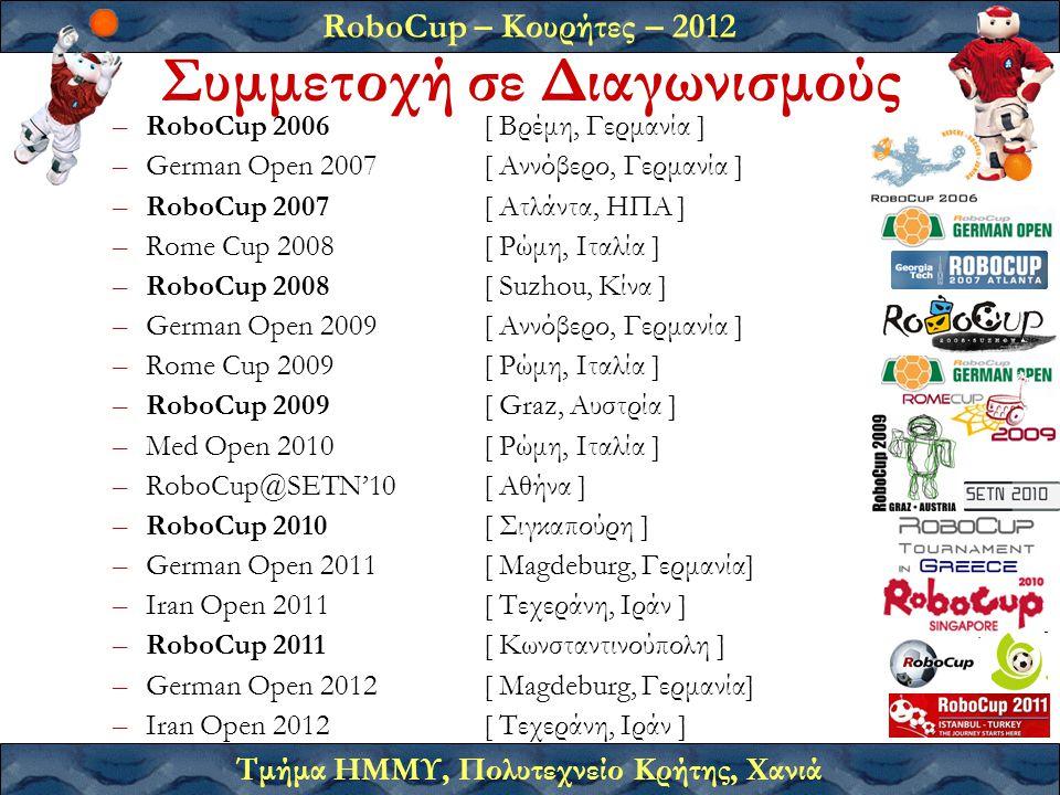 RoboCup – Κουρήτες – 2012 Τμήμα ΗΜΜΥ, Πολυτεχνείο Κρήτης, Χανιά –RoboCup 2006 [ Βρέμη, Γερμανία ] –German Open 2007 [ Αννόβερο, Γερμανία ] –RoboCup 2007 [ Ατλάντα, ΗΠΑ ] –Rome Cup 2008[ Ρώμη, Ιταλία ] –RoboCup 2008 [ Suzhou, Κίνα ] –German Open 2009 [ Αννόβερο, Γερμανία ] –Rome Cup 2009[ Ρώμη, Ιταλία ] –RoboCup 2009 [ Graz, Αυστρία ] –Med Open 2010[ Ρώμη, Ιταλία ] –RoboCup@SETN'10[ Αθήνα ] –RoboCup 2010 [ Σιγκαπούρη ] –German Open 2011[ Magdeburg, Γερμανία] –Iran Open 2011[ Τεχεράνη, Ιράν ] –RoboCup 2011[ Κωνσταντινούπολη ] –German Open 2012 [ Magdeburg, Γερμανία] –Iran Open 2012[ Τεχεράνη, Ιράν ] Συμμετοχή σε Διαγωνισμούς