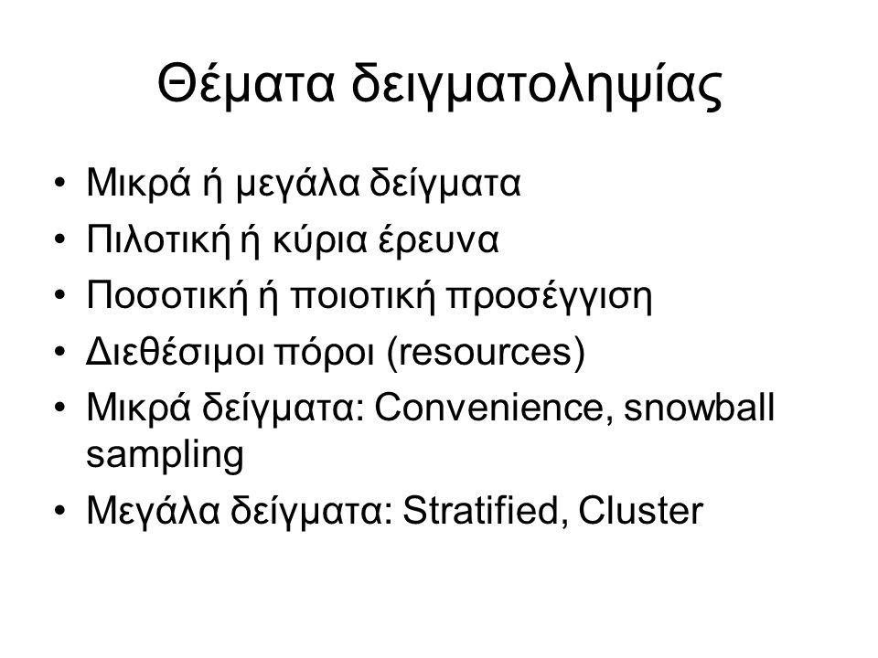 Καλή πρακτική Σε μεγάλες έρευνες ιδανικότερη θεωρείται η δειγματοληψία κατά συστάδες (cluster sampling) σε συνδυασμό με στρωματοποιημένη (stratified sampling) Παραδειγμα: Δειγματοληψία εκπαιδευτικών από όλη την Ελλάδα Ερώτημα: Πως ορίζεται το στρώμα και η συστάδα ;