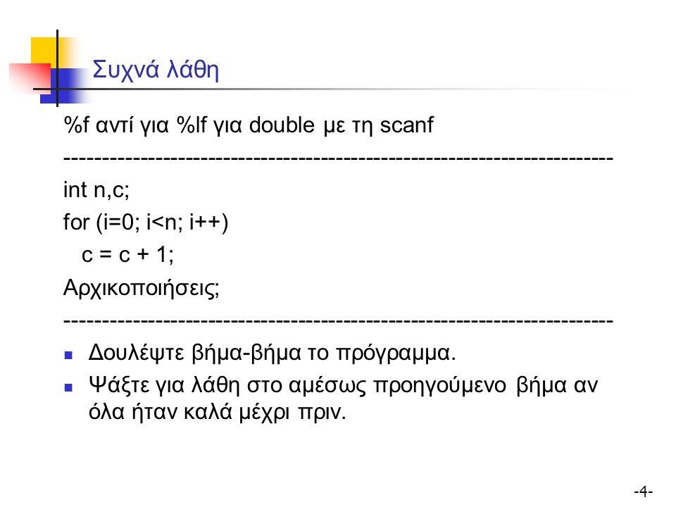 -5--5- Συχνά λάθη Αν βρείτε ένα λάθος, ψάξτε μήπως το έχετε επαναλάβει ------------------------------------------------------------------------- Χρησιμοποιείστε συναρτήσεις Ο έλεγχος μικρών συναρτήσεων βοηθά στον περιορισμό των λαθών γιατί έχετε μικρότερο όγκο κώδικα να ελέγξετε ------------------------------------------------------------------------- Δείξτε τον κώδικά σας σε συναδέλφους σας!