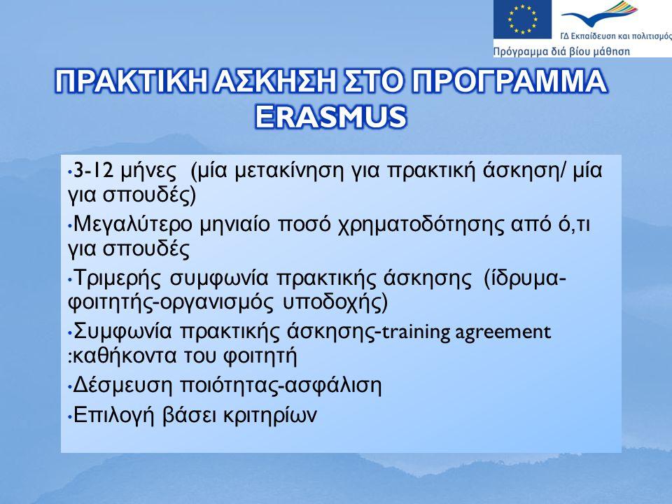 3-12 μήνες ( μία μετακίνηση για πρακτική άσκηση / μία για σπουδές ) Μεγαλύτερο μηνιαίο ποσό χρηματοδότησης από ό, τι για σπουδές Τριμερής συμφωνία πρακτικής άσκησης ( ίδρυμα - φοιτητής - οργανισμός υποδοχής ) Συμφωνία πρακτικής άσκησης -training agreement : καθήκοντα του φοιτητή Δέσμευση ποιότητας - ασφάλιση Επιλογή βάσει κριτηρίων