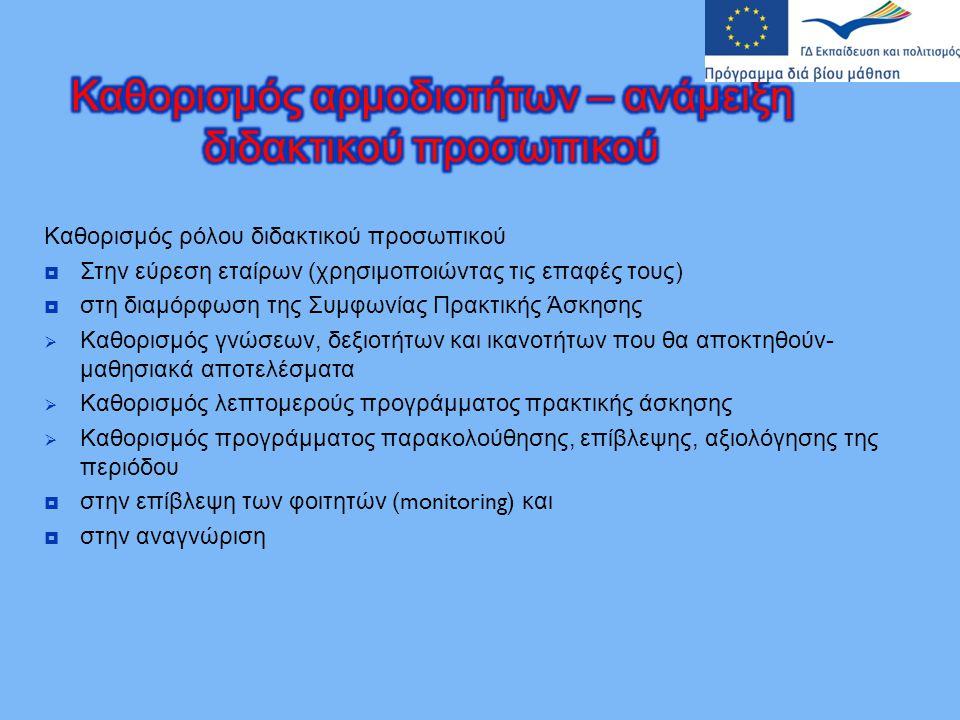 Καθορισμός ρόλου διδακτικού προσωπικού  Στην εύρεση εταίρων ( χρησιμοποιώντας τις επαφές τους )  στη διαμόρφωση της Συμφωνίας Πρακτικής Άσκησης  Κα