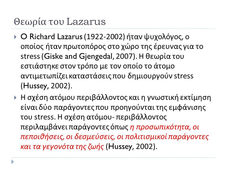 Θεωρία του Lazarus  O Richard Lazarus (1922-2002) ήταν ψυχολόγος, ο οποίος ήταν πρωτοπόρος στο χώρο της έρευνας για το stress (Giske and Gjengedal, 2007).