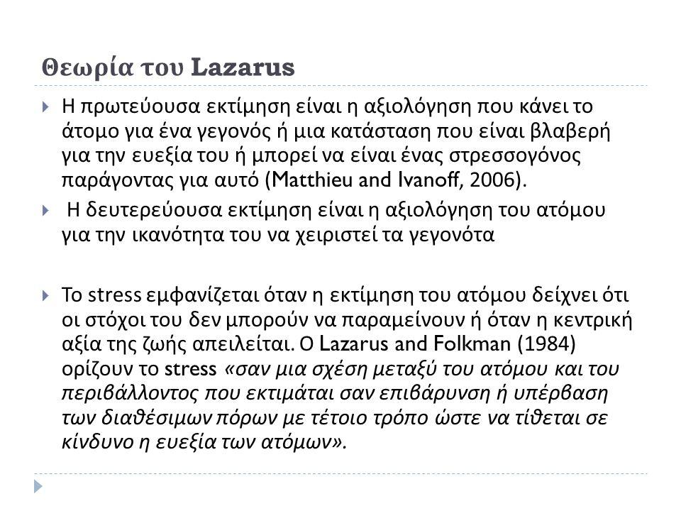 Θεωρία του Lazarus  Η πρωτεύουσα εκτίμηση είναι η αξιολόγηση που κάνει το άτομο για ένα γεγονός ή μια κατάσταση που είναι βλαβερή για την ευεξία του ή μπορεί να είναι ένας στρεσσογόνος παράγοντας για αυτό (Matthieu and Ivanoff, 2006).