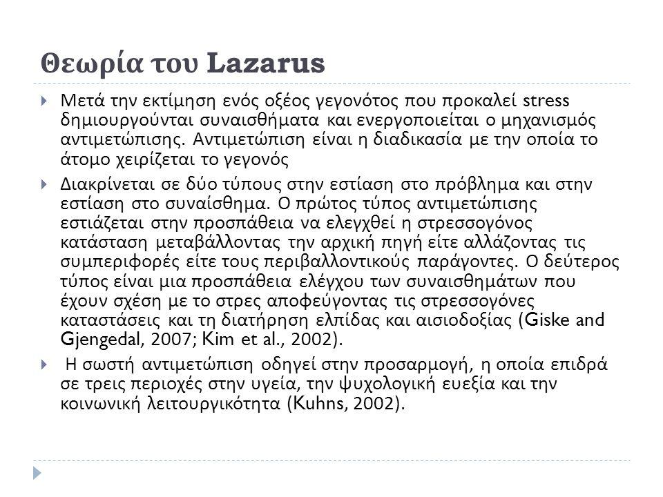 Θεωρία του Lazarus  Μετά την εκτίμηση ενός οξέος γεγονότος που προκαλεί stress δημιουργούνται συναισθήματα και ενεργοποιείται ο μηχανισμός αντιμετώπι
