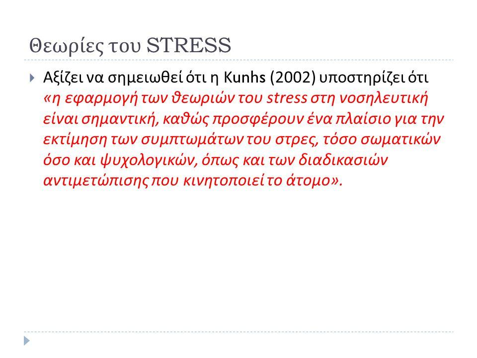 Θεωρίες του STRESS  Αξίζει να σημειωθεί ότι η Κ unhs (2002) υποστηρίζει ότι « η εφαρμογή των θεωριών του stress στη νοσηλευτική είναι σημαντική, καθώς προσφέρουν ένα πλαίσιο για την εκτίμηση των συμπτωμάτων του στρες, τόσο σωματικών όσο και ψυχολογικών, όπως και των διαδικασιών αντιμετώπισης που κινητοποιεί το άτομο ».