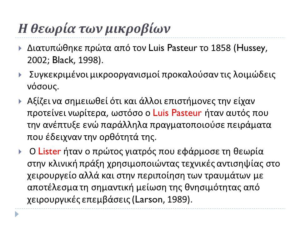 Η θεωρία των μικροβίων  Διατυπώθηκε πρώτα από τον Luis Pasteur το 1858 (Hussey, 2002; Black, 1998).  Συγκεκριμένοι μικροοργανισμοί προκαλούσαν τις λ
