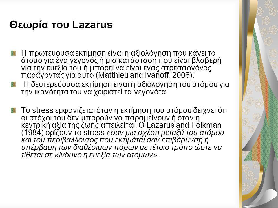 Θεωρία του Lazarus O Richard Lazarus (1922-2002) ήταν ψυχολόγος, ο οποίος ήταν πρωτοπόρος στο χώρο της έρευνας για το stress (Giske and Gjengedal, 200