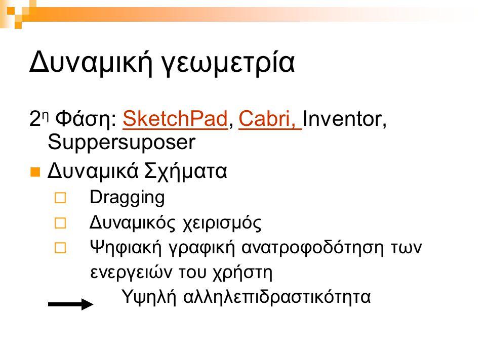 Δυναμική γεωμετρία 2 η Φάση: SketchPad, Cabri, Inventor, SuppersuposerSketchPadCabri, Δυναμικά Σχήματα  Dragging  Δυναμικός χειρισμός  Ψηφιακή γραφ