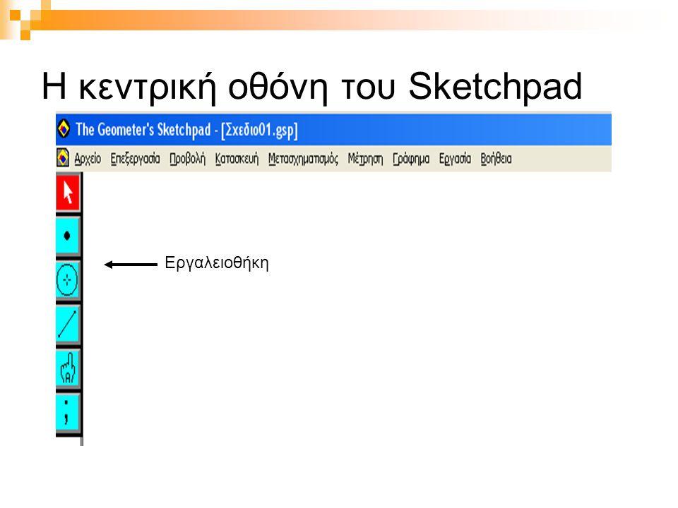 Η κεντρική οθόνη του Sketchpad Εργαλειοθήκη