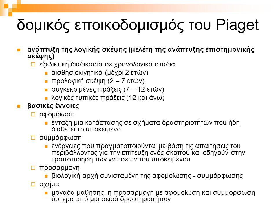 δομικός εποικοδομισμός του Piaget ανάπτυξη της λογικής σκέψης (μελέτη της ανάπτυξης επιστημονικής σκέψης)  εξελικτική διαδικασία σε χρονολογικά στάδι