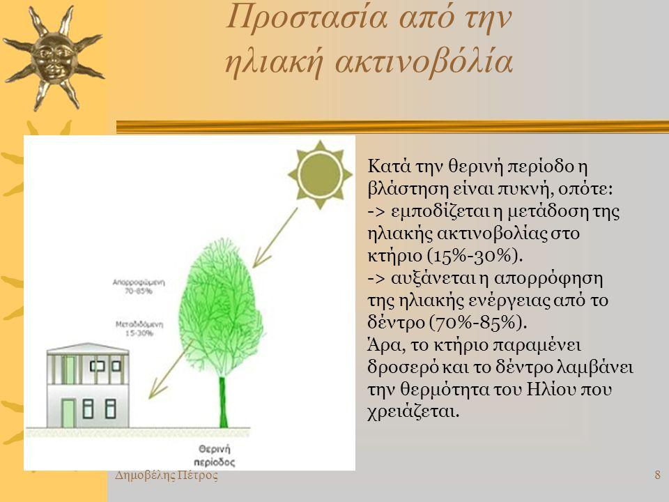 Προστασία από την ηλιακή ακτινοβόλία Κατά την θερινή περίοδο η βλάστηση είναι πυκνή, οπότε: -> εμποδίζεται η μετάδοση της ηλιακής ακτινοβολίας στο κτήριο (15%-30%).