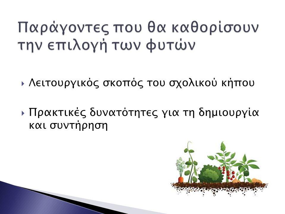  Ελάχιστες προϋποθέσεις και συνθήκες για την ανάπτυξη των φυτών (προσανατολισμός του χώρου φύτευσης, φωτισμός, δυνατότητα άρδευσης, τύπος εδάφους κλπ)  Χρονικοί περιορισμοί μιας σχολικής χρονιάς  Στενότητα χώρου ή έλλειψη κατάλληλου εδάφους πολλών σχολείων  Ανάγκη κάλυψης των μαθησιακών και βιωματικών εμπειριών των μαθητών