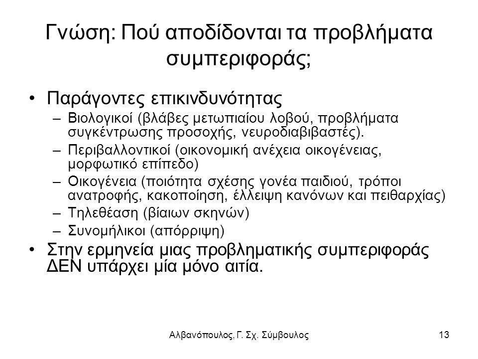 Αλβανόπουλος, Γ. Σχ. Σύμβουλος13 Γνώση: Πού αποδίδονται τα προβλήματα συμπεριφοράς; Παράγοντες επικινδυνότητας –Βιολογικοί (βλάβες μετωπιαίου λοβού, π