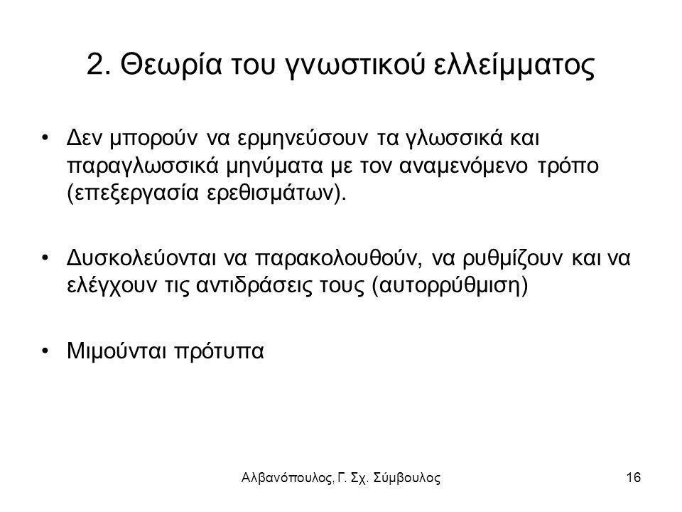 Αλβανόπουλος, Γ. Σχ. Σύμβουλος16 2. Θεωρία του γνωστικού ελλείμματος Δεν μπορούν να ερμηνεύσουν τα γλωσσικά και παραγλωσσικά μηνύματα με τον αναμενόμε