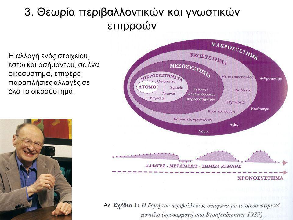 Αλβανόπουλος, Γ. Σχ. Σύμβουλος17 3. Θεωρία περιβαλλοντικών και γνωστικών επιρροών Η αλλαγή ενός στοιχείου, έστω και ασήμαντου, σε ένα οικοσύστημα, επι