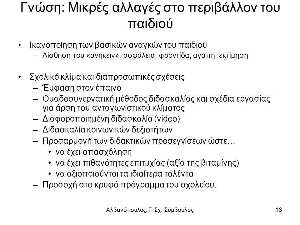 Αλβανόπουλος, Γ. Σχ. Σύμβουλος18 Γνώση: Μικρές αλλαγές στο περιβάλλον του παιδιού Ικανοποίηση των βασικών αναγκών του παιδιού –Αίσθηση του «ανήκειν»,