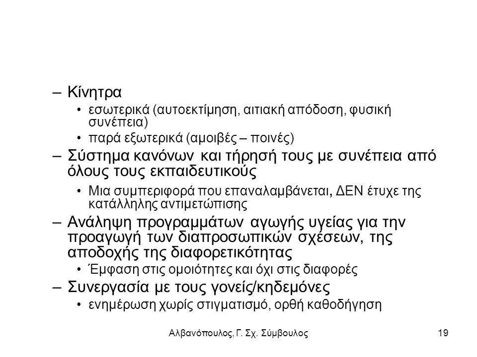 Αλβανόπουλος, Γ. Σχ. Σύμβουλος19 –Κίνητρα εσωτερικά (αυτοεκτίμηση, αιτιακή απόδοση, φυσική συνέπεια) παρά εξωτερικά (αμοιβές – ποινές) –Σύστημα κανόνω