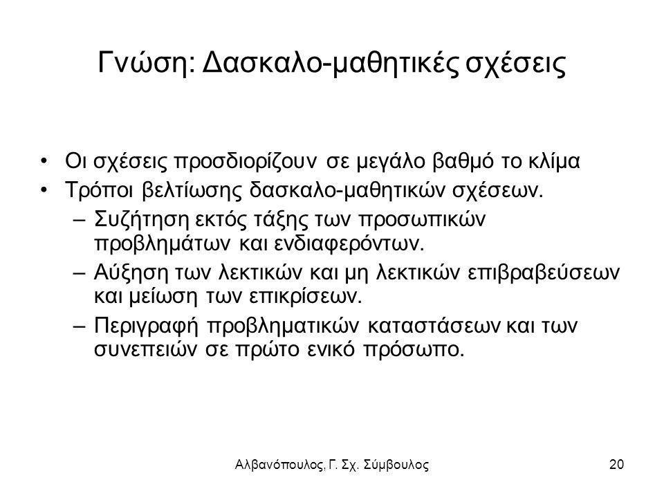 Αλβανόπουλος, Γ. Σχ. Σύμβουλος20 Γνώση: Δασκαλο-μαθητικές σχέσεις Οι σχέσεις προσδιορίζουν σε μεγάλο βαθμό το κλίμα Τρόποι βελτίωσης δασκαλο-μαθητικών