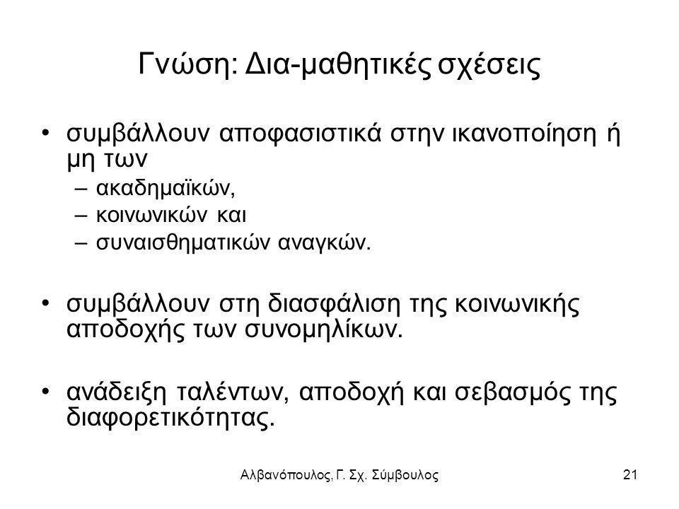 Αλβανόπουλος, Γ. Σχ. Σύμβουλος21 Γνώση: Δια-μαθητικές σχέσεις συμβάλλουν αποφασιστικά στην ικανοποίηση ή μη των –ακαδημαϊκών, –κοινωνικών και –συναισθ