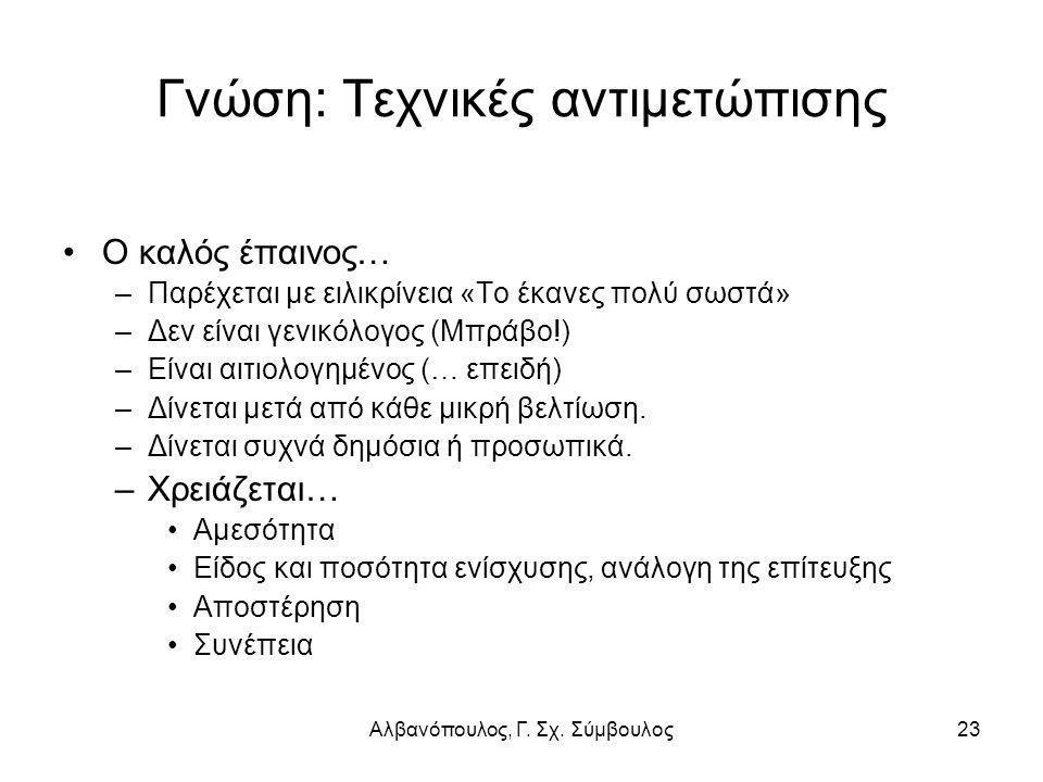 Αλβανόπουλος, Γ. Σχ. Σύμβουλος23 Γνώση: Τεχνικές αντιμετώπισης Ο καλός έπαινος… –Παρέχεται με ειλικρίνεια «Το έκανες πολύ σωστά» –Δεν είναι γενικόλογο