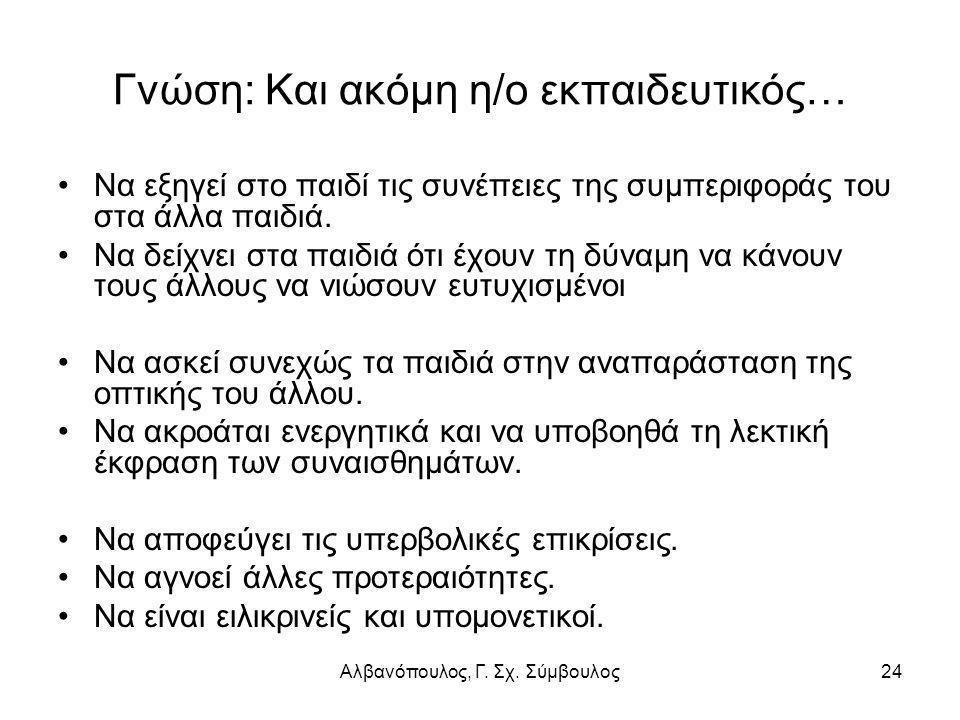 Αλβανόπουλος, Γ. Σχ. Σύμβουλος24 Γνώση: Και ακόμη η/ο εκπαιδευτικός… Να εξηγεί στο παιδί τις συνέπειες της συμπεριφοράς του στα άλλα παιδιά. Να δείχνε