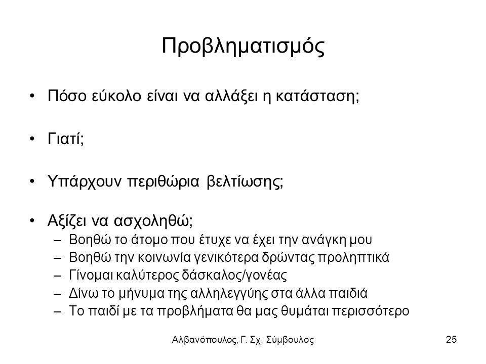 Αλβανόπουλος, Γ. Σχ. Σύμβουλος25 Προβληματισμός Πόσο εύκολο είναι να αλλάξει η κατάσταση; Γιατί; Υπάρχουν περιθώρια βελτίωσης; Αξίζει να ασχοληθώ; –Βο