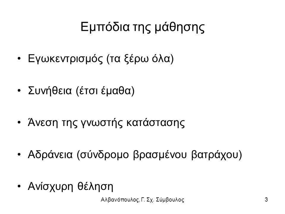 Αλβανόπουλος, Γ. Σχ. Σύμβουλος3 Εμπόδια της μάθησης Εγωκεντρισμός (τα ξέρω όλα) Συνήθεια (έτσι έμαθα) Άνεση της γνωστής κατάστασης Αδράνεια (σύνδρομο