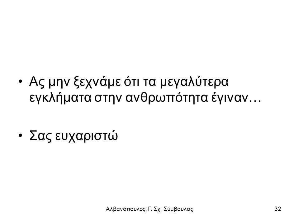 Αλβανόπουλος, Γ. Σχ. Σύμβουλος32 Ας μην ξεχνάμε ότι τα μεγαλύτερα εγκλήματα στην ανθρωπότητα έγιναν… Σας ευχαριστώ
