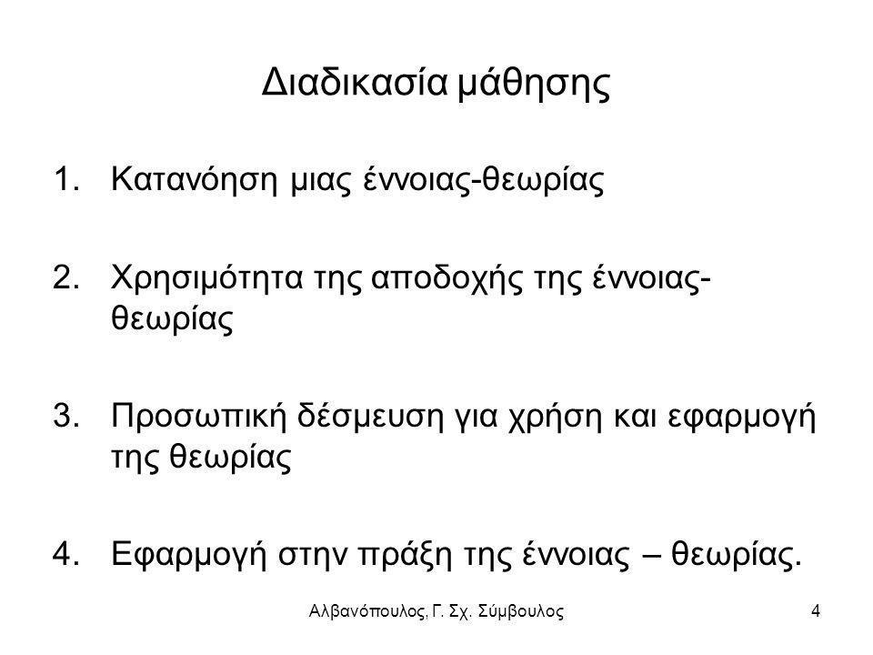Αλβανόπουλος, Γ. Σχ. Σύμβουλος4 Διαδικασία μάθησης 1.Κατανόηση μιας έννοιας-θεωρίας 2.Χρησιμότητα της αποδοχής της έννοιας- θεωρίας 3.Προσωπική δέσμευ