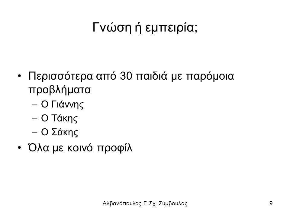 Αλβανόπουλος, Γ.Σχ. Σύμβουλος10 Το προφίλ του παιδιού με ΠΣ Αγόρι κοντά στην εφηβεία.
