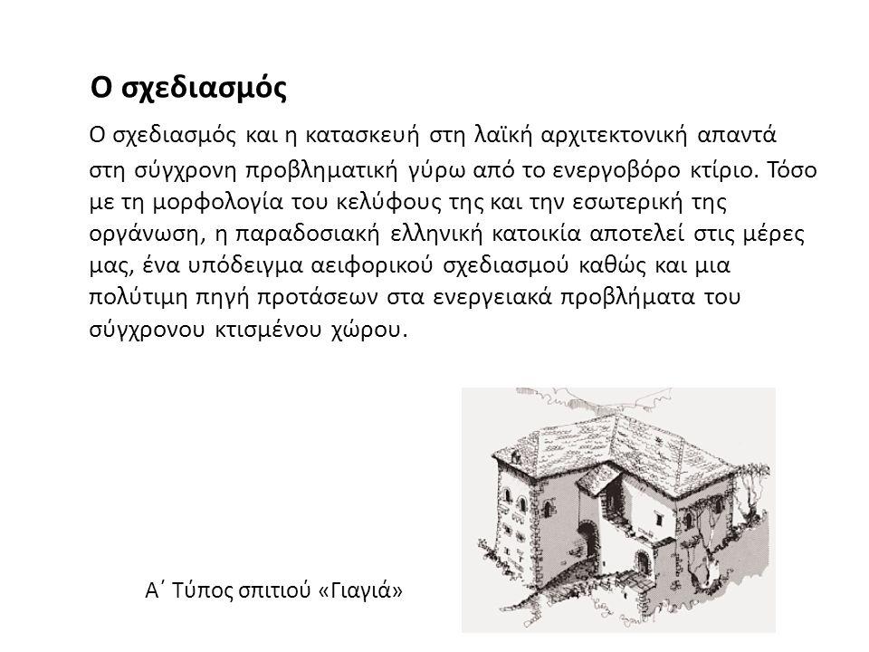 Ο σχεδιασμός και η κατασκευή στη λαϊκή αρχιτεκτονική απαντά στη σύγχρονη προβληματική γύρω από το ενεργοβόρο κτίριο. Τόσο με τη μορφολογία του κελύφου