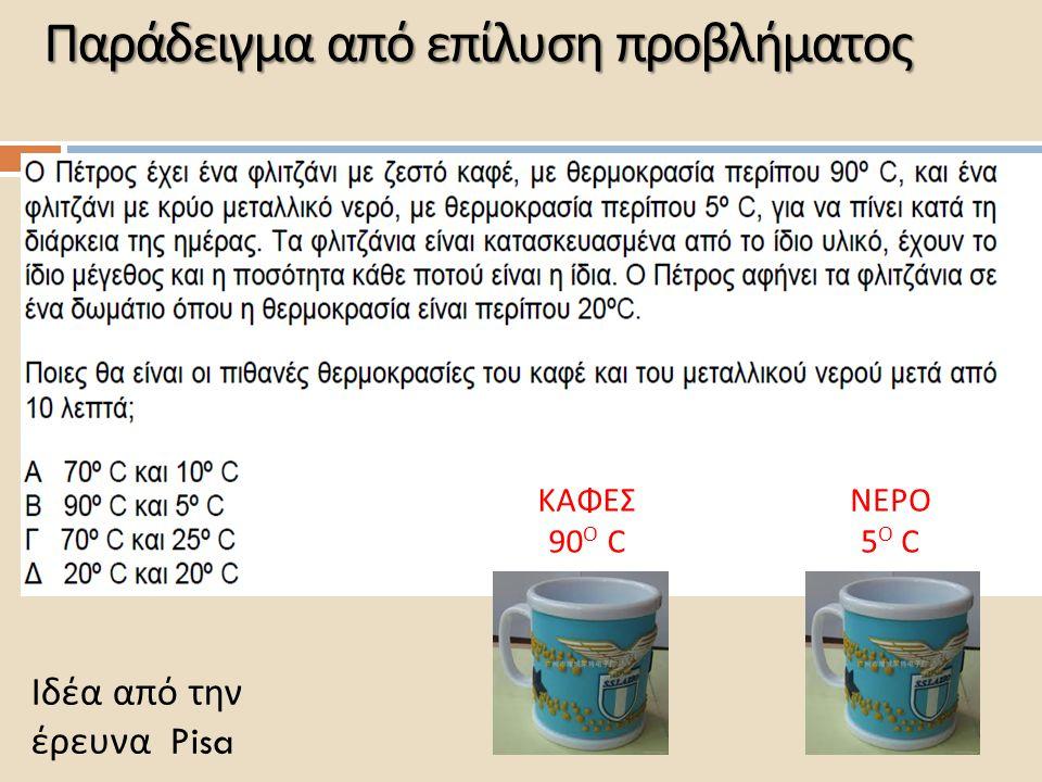 Παράδειγμα από επίλυση προβλήματος ΚΑΦΕΣ 90 Ο C ΝΕΡΟ 5 Ο C Ιδέα από την έρευνα Pisa