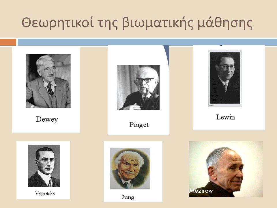 Θεωρητικοί της βιωματικής μάθησης  Dewey: από την εμπειρία, για την εμπειρία και μέσω της εμπειρίας  Lewin: Δυναμική της ομάδας  Piaget: Αλληλεπίδραση προσώπου και περιβάλλοντος  Loblot, Trevarten : Συναισθηματική εμπειρία  Mezirow : Καλλιέργεια της κριτικής συνείδησης