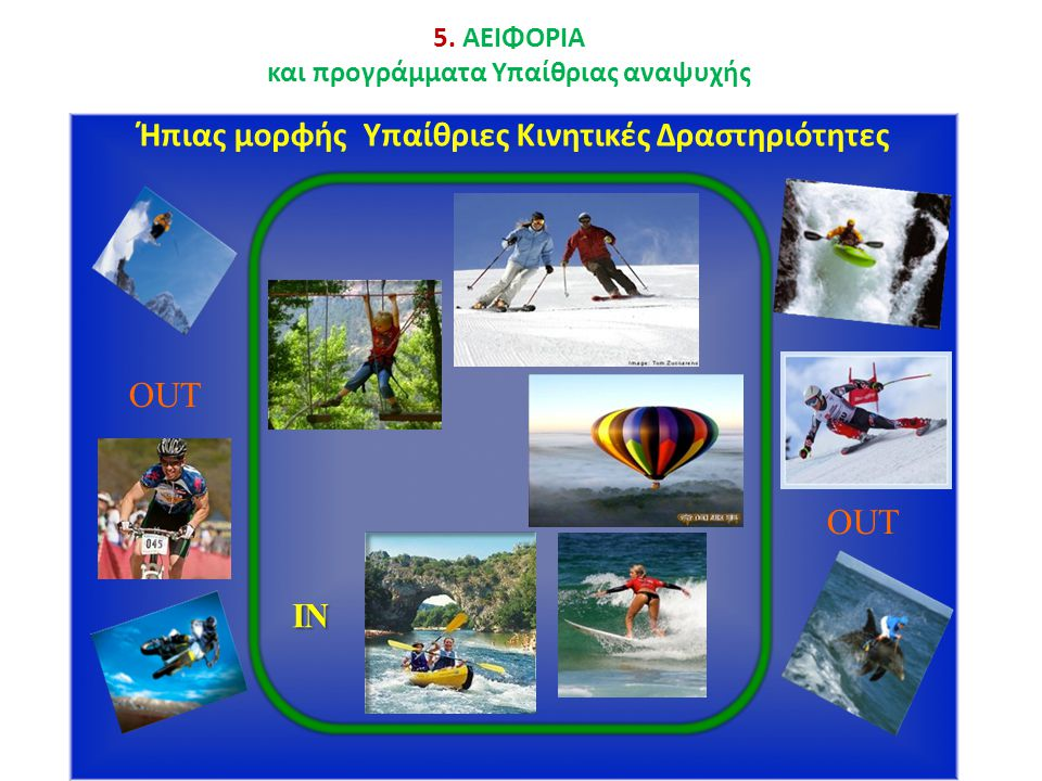 Outdoo r Active Leisure Ήπιας μορφής Υπαίθριες Κινητικές Δραστηριότητες OUT IN 5.