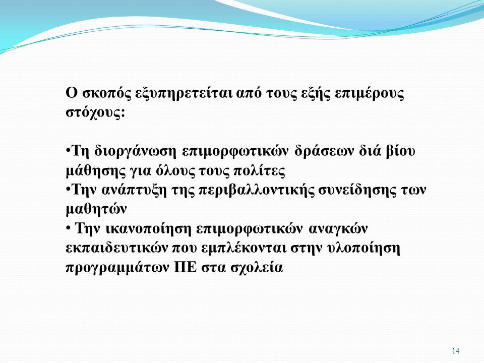 13 Ο ΚΥΡΙΟΣ ΣΚΟΠΟΣ ΤΟΥ ΚΠΕ : η ευαισθητοποίηση της κοινωνίας (εκπαιδευτικής κοινότητας και όλων των πολιτών) σε θέματα αειφορικής διαχείρισης των φυσι