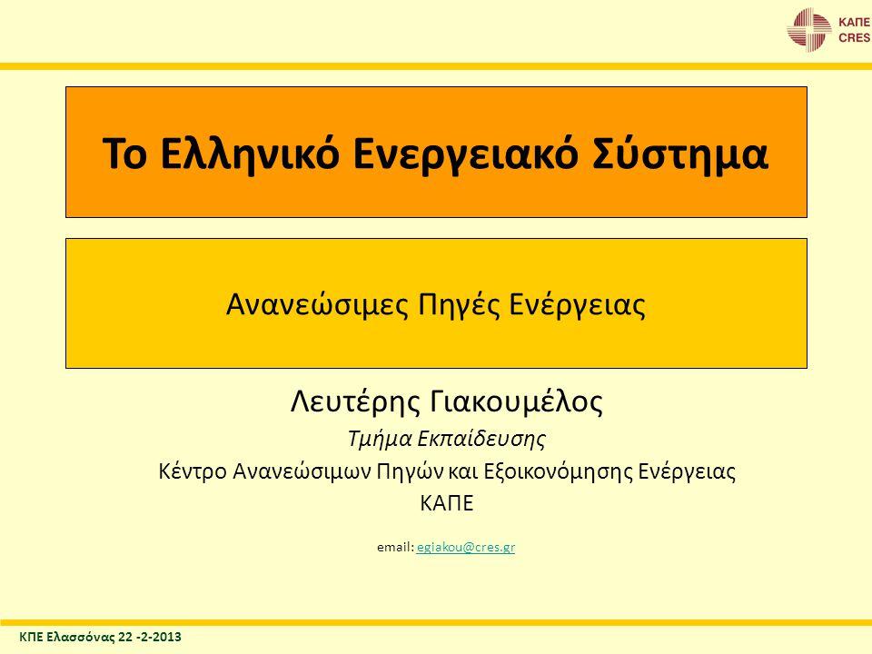 Ακαθάριστη παραγωγή ηλεκτρικής ενέργειας (σε %- TWh) Δεδομένα για το 2009 Source: European Commission, DG Energy, A1 – June 2011 Data sources: EC (ESTAT, ECFIN), EEA Ηλεκτρισμός Πηγή: Greece 2011, European Commission, DG Energy, A1 – June 2011 Πηγές δεδομένων: EC (ESTAT, ECFIN), EEA