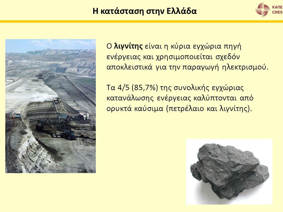Ο λιγνίτης είναι η κύρια εγχώρια πηγή ενέργειας και χρησιμοποιείται σχεδόν αποκλειστικά για την παραγωγή ηλεκτρισμού. Τα 4/5 (85,7%) της συνολικής εγχ