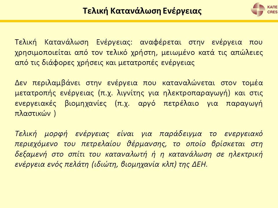 Τελική Κατανάλωση Ενέργειας: αναφέρεται στην ενέργεια που χρησιμοποιείται από τον τελικό χρήστη, μειωμένο κατά τις απώλειες από τις διάφορες χρήσεις κ
