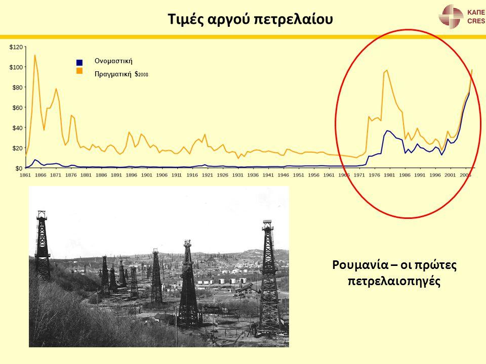 Τιμές αργού πετρελαίου Ονομαστική Πραγματική $ 2008 Ρουμανία – οι πρώτες πετρελαιοπηγές