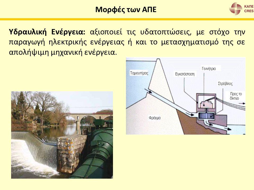 Υδραυλική Ενέργεια: αξιοποιεί τις υδατοπτώσεις, με στόχο την παραγωγή ηλεκτρικής ενέργειας ή και το μετασχηματισμό της σε απολήψιμη μηχανική ενέργεια.