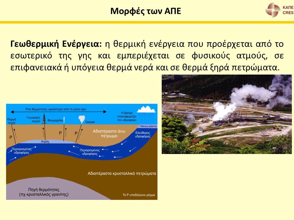 Γεωθερμική Ενέργεια: η θερμική ενέργεια που προέρχεται από το εσωτερικό της γης και εμπεριέχεται σε φυσικούς ατμούς, σε επιφανειακά ή υπόγεια θερμά νε