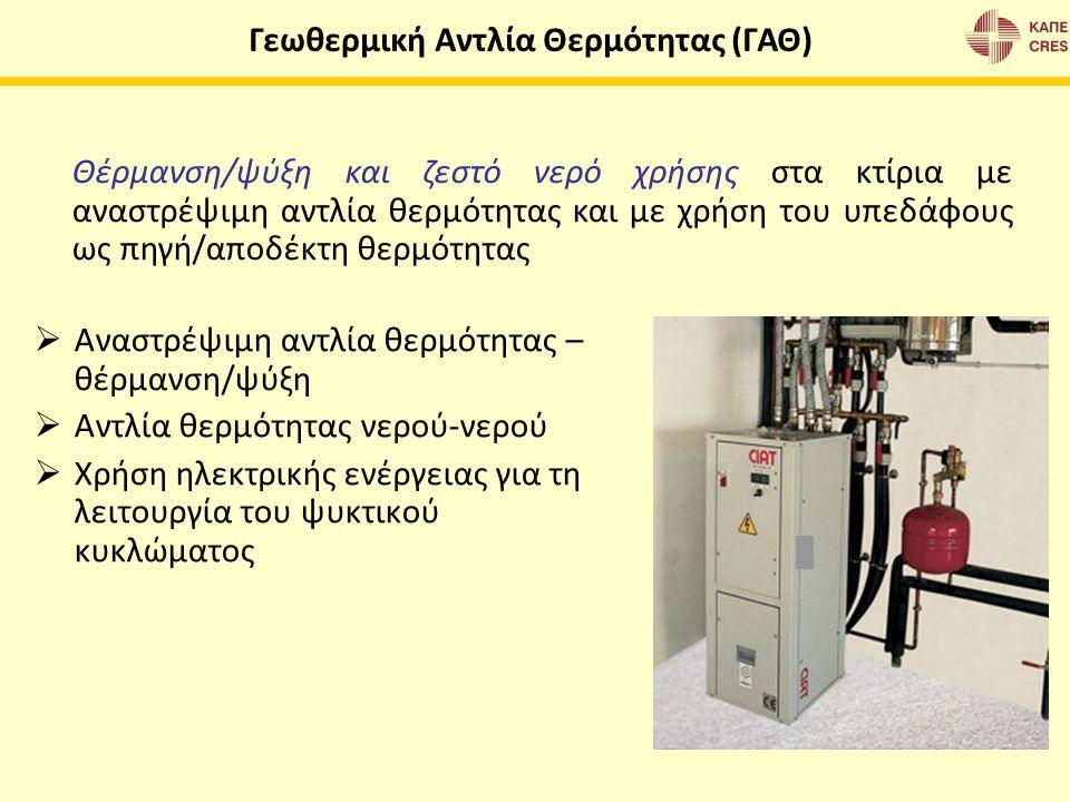  Αναστρέψιμη αντλία θερμότητας – θέρμανση/ψύξη  Αντλία θερμότητας νερού-νερού  Χρήση ηλεκτρικής ενέργειας για τη λειτουργία του ψυκτικού κυκλώματος