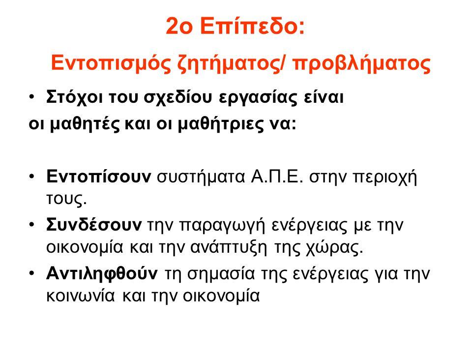 3ο Επίπεδο: Διερεύνηση ζητήματος/ προβλήματος Στόχοι του σχεδίου εργασίας είναι οι μαθητές και οι μαθήτριες να: Ενημερωθούν από την Ελληνική Στατιστική Αρχή σχετικά με την παραγωγή και κατανάλωση ενέργειας σε τοπικό και εθνικό επίπεδο.
