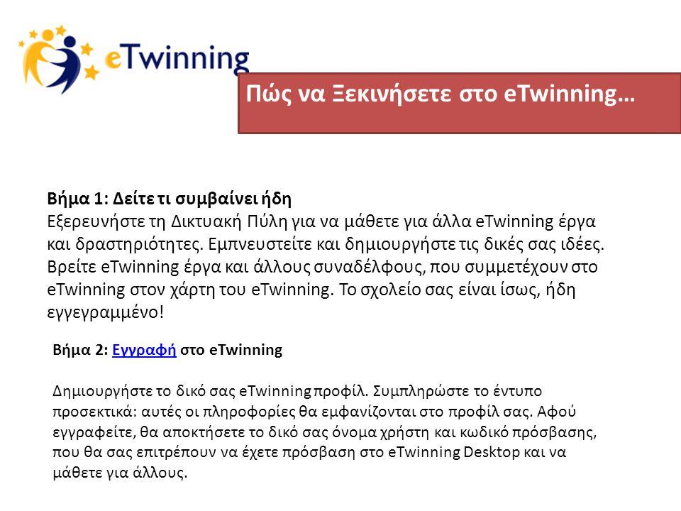 Πώς να Ξεκινήσετε στο eTwinning… Βήμα 1: Δείτε τι συμβαίνει ήδη Εξερευνήστε τη Δικτυακή Πύλη για να μάθετε για άλλα eTwinning έργα και δραστηριότητες.