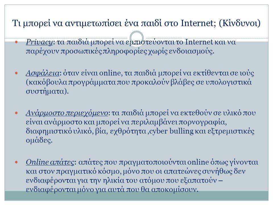 Τι μπορεί να αντιμετωπίσει ένα παιδί στο Internet; (Κίνδυνοι) Privacy: τα παιδιά μπορεί να εμπιστεύονται το Internet και να παρέχουν προσωπικές πληροφορίες χωρίς ενδοιασμούς.