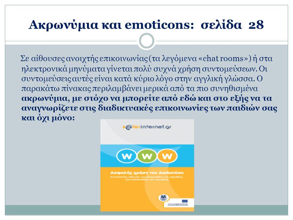 Ακρωνύμια και emoticons: σελίδα 28 Σε αίθουσες ανοιχτής επικοινωνίας (τα λεγόμενα «chat rooms») ή στα ηλεκτρονικά μηνύματα γίνεται πολύ συχνά χρήση συντομεύσεων.