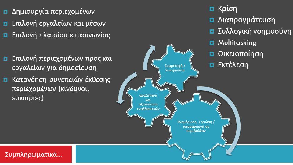  Κρίση  Διαπραγμάτευση  Συλλογική νοημοσύνη  Multitasking  Οικειοποίηση  Εκτέλεση Ενημέρωση / γνώση / π ροσαρμογή σε π εριβάλλον αναζήτηση και αξιο π οίηση εναλλακτικών Συμμετοχή / Συνεργασία  Δημιουργία περιεχομένων  Επιλογή εργαλείων και μέσων  Επιλογή πλαισίου επικοινωνίας  Επιλογή περιεχομένων προς και εργαλείων για δημοσίευση  Κατανόηση συνεπειών έκθεσης περιεχομένων ( κίνδυνοι, ευκαιρίες ) Συμπληρωματικά…