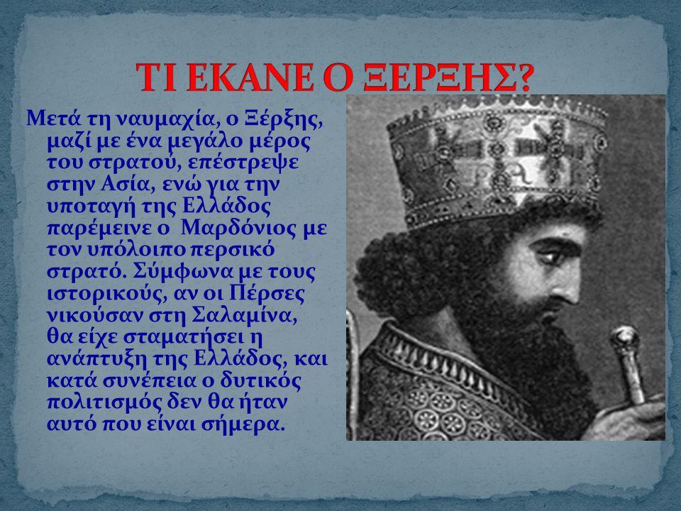 Μετά τη ναυμαχία, ο Ξέρξης, μαζί με ένα μεγάλο μέρος του στρατού, επέστρεψε στην Ασία, ενώ για την υποταγή της Ελλάδος παρέμεινε ο Μαρδόνιος με τον υπόλοιπο περσικό στρατό.