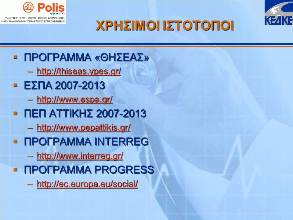 ΧΡΗΣΙΜΟΙ ΙΣΤΟΤΟΠΟΙ  ΠΡΟΓΡΑΜΜΑ «ΘΗΣΕΑΣ» –http://thiseas.ypes.gr/ http://thiseas.ypes.gr/  ΕΣΠΑ 2007-2013 –http://www.espa.gr/ http://www.espa.gr/  ΠΕΠ ΑΤΤΙΚΗΣ 2007-2013 –http://www.pepattikis.gr/ http://www.pepattikis.gr/  ΠΡΟΓΡΑΜΜΑ INTERREG –http://www.interreg.gr/ http://www.interreg.gr/  ΠΡΟΓΡΑΜΜΑ PROGRESS –http://ec.europa.eu/social/ http://ec.europa.eu/social/